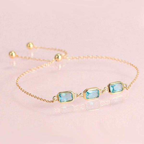 Hutang Blue Topaz CZ 925 Pulseras de plata esterlina de color amarillo oro de piedras preciosas joyería fina pulsera ajustable para las mujeres