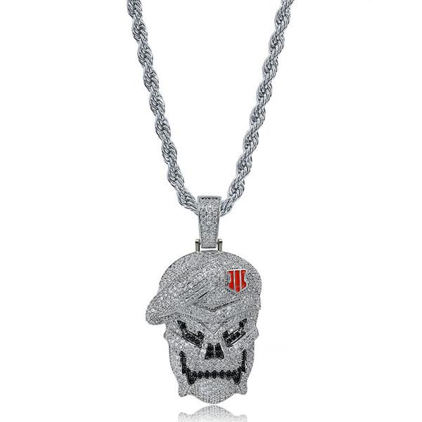 Mens Hiphop Skull Pendentifs Collier Plaqué Argent Glissé Sur Hip Hop Bijoux Bling CZ Pierre Hommes Squelette Colliers