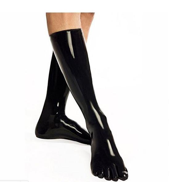 Latex-Fetisch Latex Strümpfe mit 5 Zehen Gummi 35cm Fetisch Socken unisex Clubwear ONE SIZE FARBE SCHWARZ