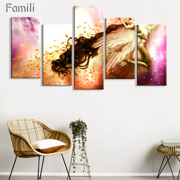 5Panel Canvas Art Paintings By Numbers Wall Pictures Canvas Pintura Al óleo Caligrafía Devil May Cry Angel Wings Pictures