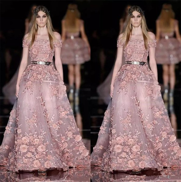 New Couture Zuhair Murad Prom Dresses for Sale 3D Floral Appliques Dusty Pink Evening Dress Plus Size Latest Party Gown Design