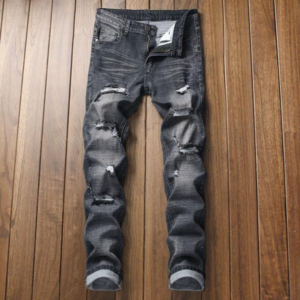 Erkek Yırtık Sıska Sıkıntılı Tahrip Slim Fit Streç Biker Jeans Pantolon Delikli Moto Biker Jeans