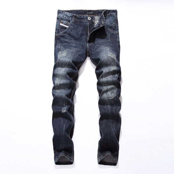 2019 New Brand Fashion Designer Jeans Men Straight Blue Color Printed Men Jeans Ripped Jeans!E988