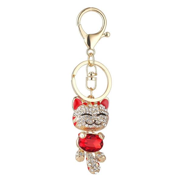 Lindo encantador de la sonrisa del gato colgante llavero de la llave del coche del Rhinestone Anillo Llavero con titular de la clave para las mujeres señoras de las muchachas 9874