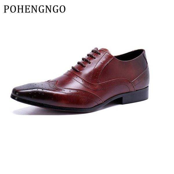 Italia Marca de Cuero de Grano Completo Zapatos de oficina Oxford de Estilo Británico Retro Tallado Bullock Formal Hombres Zapatos de Vestir de negocios 38-46