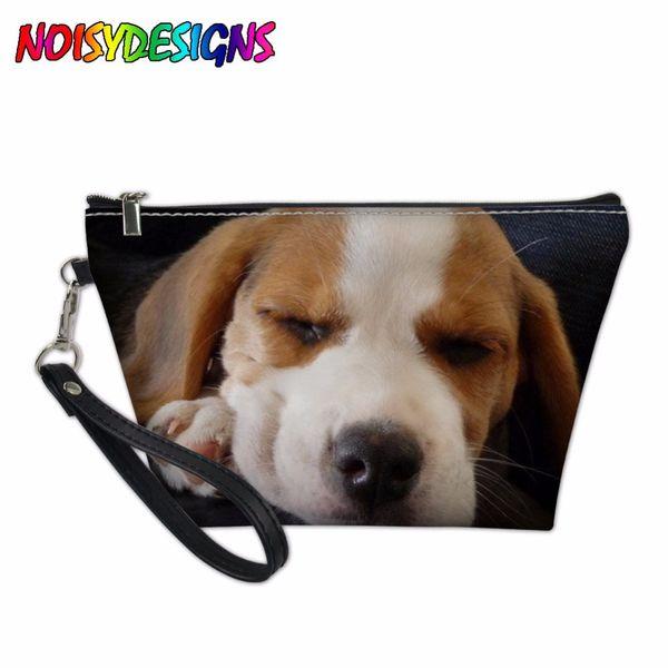 Beagle Printing Women Travel Cosmetic Bag Dog Pattern Kosmetyczka Make up Case Girls Daily Pencil Case cosmetic organizer bag
