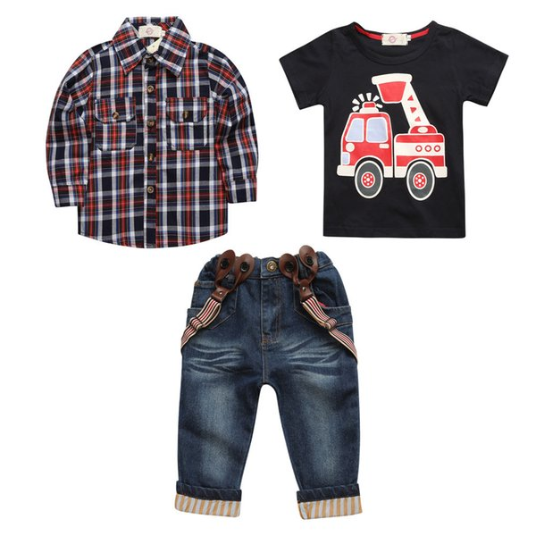 2019 bébé garçon Plaid Denim trois pièces costume jarretelles (tshirt + chemise + jean) Ensembles de vêtements Enfants enfants costume vêtements de boutique