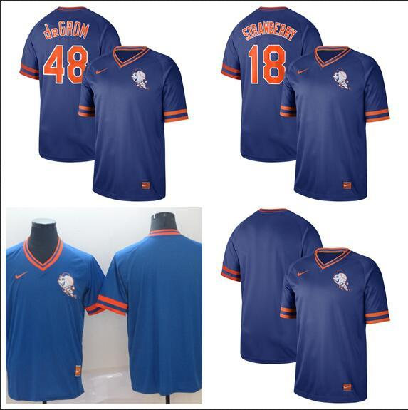 2019 Men Women Youth Mets 48 Degrom 18 Strawberry Mitchell & Ness Bule Retro Cooperstown Batting Practice Baseball Jersey