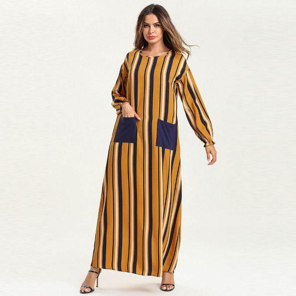 Women long sleeve o neck Fashion striped printed casual kaftan dubai muslim turkish Plus Size clothing with pocket