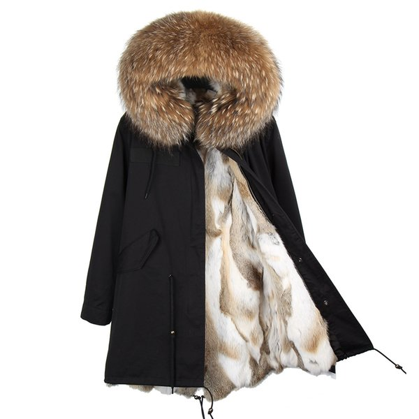 MAO MAO KONG Fashion women's real rabbit fur lining winter jacket coat natural fox fur collar hooded long parkas outwear DHL 5-7