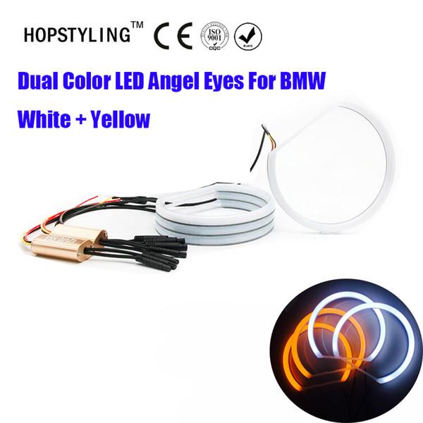Çift Renk beyaz sarı E36 E38 E49 E46 Projektör SMD LED Melek Gözler Melek Göz Halo Pamuk Işık Hata Için Ücretsiz LED