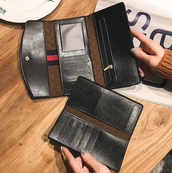 Factory wholesale brand women handbag fashion folding long wallet personality card leather wallet Joker embroidered line Lingge coin purse