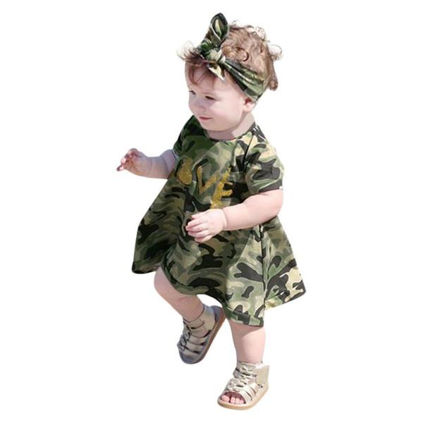 2019 New INS hot sale 2Pcs Baby Girls Kids short sleeves Camouflage Dress+Headband Clothes Sundress Casual Set
