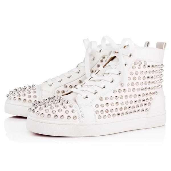 Zapatos de boda del tamaño grande Eur36-47 Designer Shoes High Cut inferior rojo de la zapatilla de deporte de lujo del partido Sedue la pantorrilla de Spike cuero auténtico t02 Casual Shoe