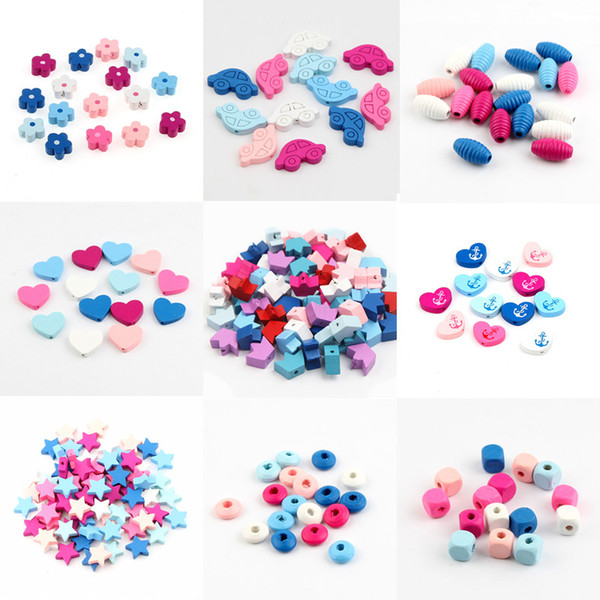 wooden beads Various styles Multicolor Beading Wooden Beads Bead for jewelry Making DIY Baby Crafts Kids Toys & Pacifier Clip