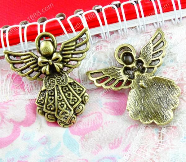 20pcs 42.1*38.5MM Antique bronze tibetan angel fairy charms for bracelet vintage metal pendant for earring handmade DIY jewelry making