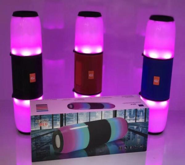 ME6 Neue Bluetooth Lautsprecher Outdoor LED-Licht Party Tragbare Wireless Bass Big Soundbar TV Lautsprecher Unterstützung TF Karte AUX FM Mic Lautsprecher