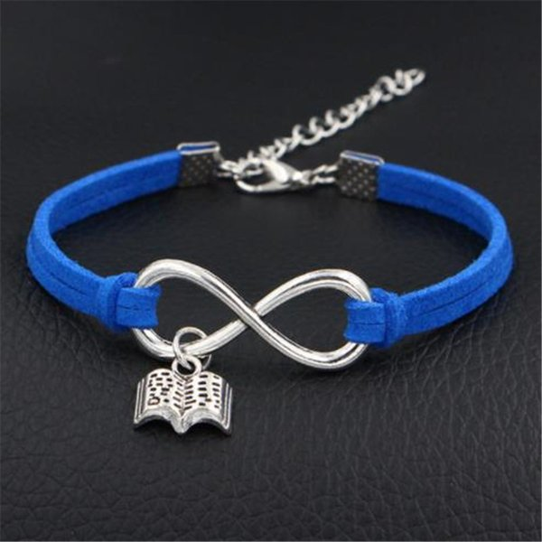 New Infinity Love Read Books Pendant Wrap Jewelry Vintage Royal Blue Leather Suede Couples Unisex Bangles Bracelets Creative Gifts Drop ship