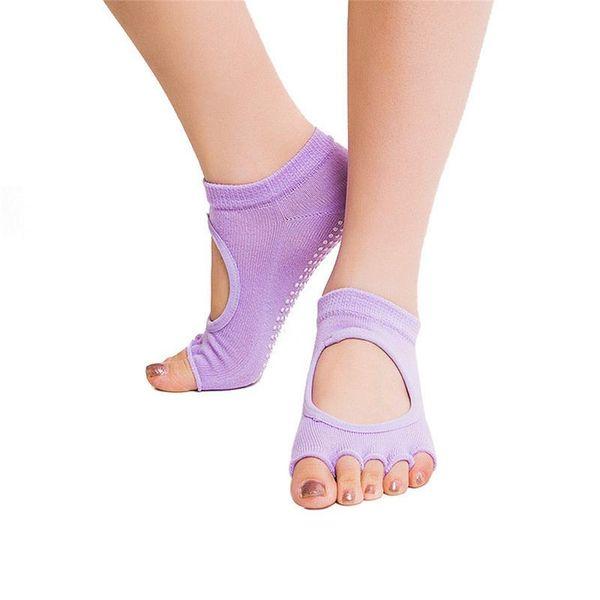 2 teile / para Open Toe Frauen Anti Slip Baumwolle Finger-getrennt Yoga Socken Damen Sport Pilates Socken Ballett Tanzen Socken