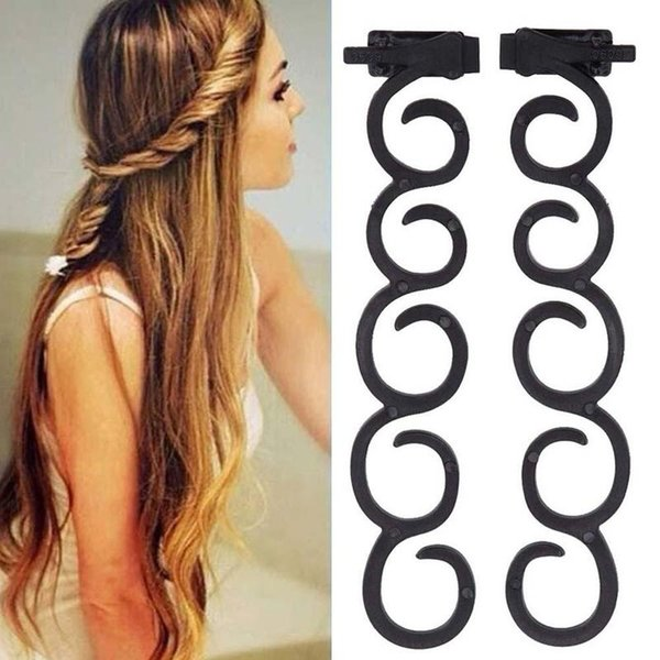 2 unids / bolsa Lady French Hair Braiding Tool Magic Hair Twist Styling Clip Braider Roller Bun Maker DIY banda de pelo Accesorios MTF6391