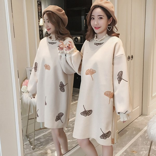 Fashion Medium length half-high collar ruffled embroidered dress autumn winter 2019 women new loose retro wood ear Hairy dress