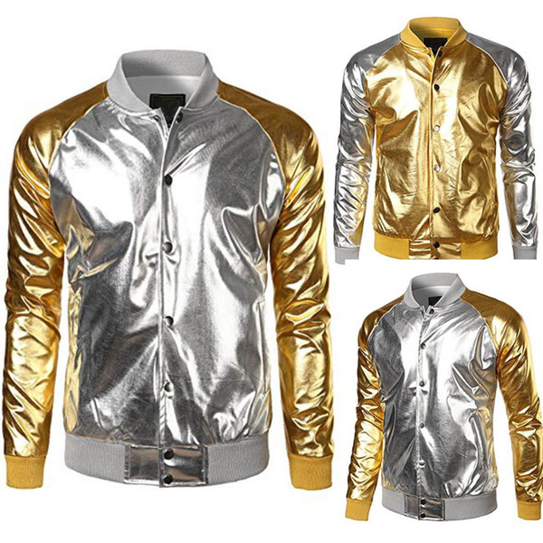 Fashion Men Metallic Nightclub Styles Zip Up Varsity Baseball Bomber Jacket Coat Men Outerwear Stand Collar Male Clothing