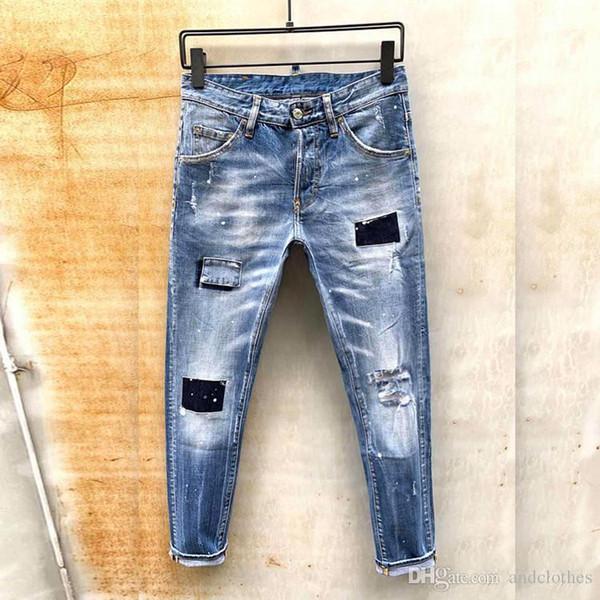 designer jeans hommes Pantalons pour hommes Équipées mode tendance dernière explosion occasionnelle des hommes de l'Europe et l'Amérique jeans skinny jeunes tendance