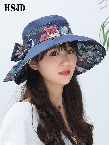 Летние женские большие широкие поля цветов Солнечная шляпа Женский козырек с бантом Складная элегантность Анти-ультрафиолетовая пляжная шляпа Летняя женская шляпаSH190724