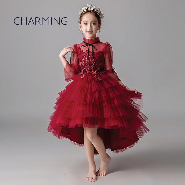 Compre Niñas Vestidos De Fiesta Rojos Vestidos Bonitos Para Niñas Vestidos De Flores Niña Vestido De Princesa Vestido De Cola Vestido A 5025 Del