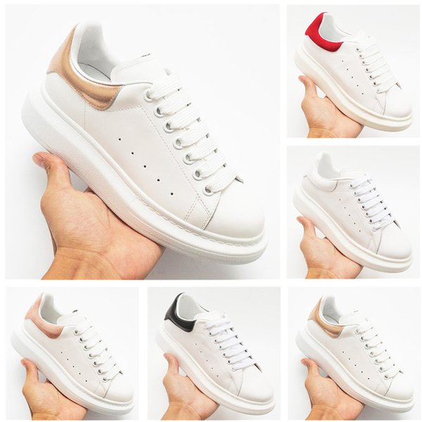 2019 Luxury Designer Men Women Sneakers Cheap Best Top Quality Fashion White Leather Platform Shoes Flat Casual Party Wedding Shoes