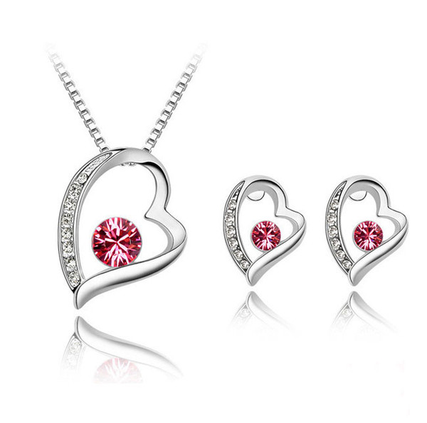 High Quality Elegant 925 Silver Plated Crystal love Sweet Heart Pendants Necklaces/Stud Earrings Bridal Wedding Jewelry Sets For Women girls