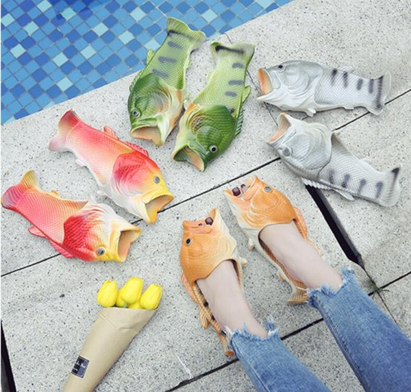 Creative Fish Shower Slippers Funny Beach Shoes Sandals Bling Flip Flops Summer Fish Shaped Casual Shoes free ship