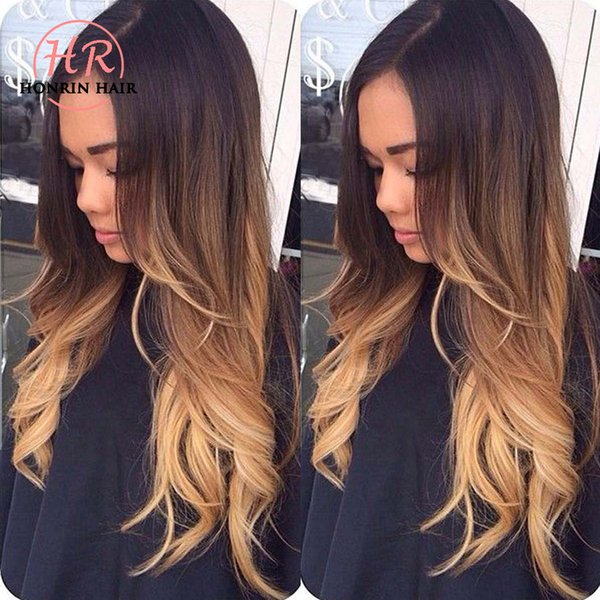 Honrin Hair 360 Lace Wig Ombre T1b/4/27 Natural Wave Full Lace Wig Wavy Pre Plucked Brazilian Virgin Human Hair Bleached Knots