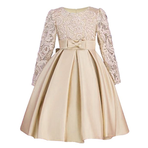 2019 Christmas Girls Dresses Long Sleeve Bud Silk Bowknot Clothes Wedding Party Dress For Girl Children's Princess Dresses Y19061501
