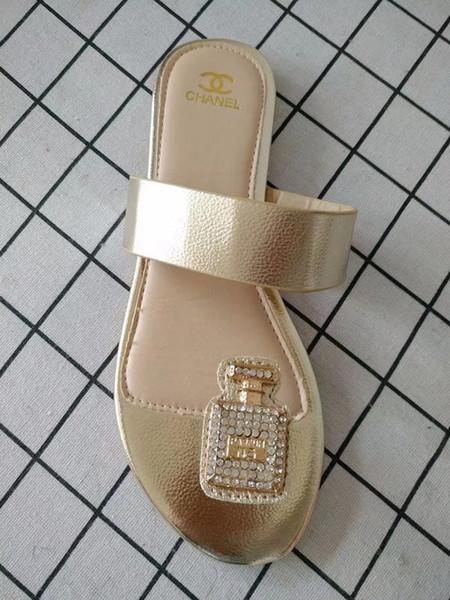 top popular 2019 Women Sandals big size Designer Shoes Luxury flip flops sandals Summer Fashion Wide Flat Slippery With Sandals Slipper flip flops 2019