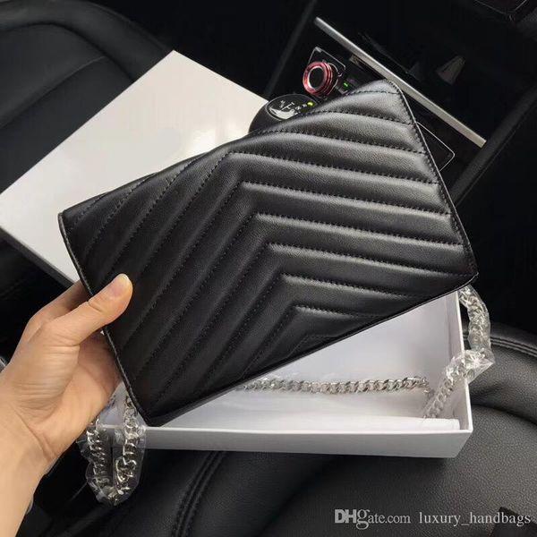 Designer Handbags sheepskin Caviar leather Designer Handbag women bags Genuine Leather Flip cover metal Gold Silver chain Shoulder Bags