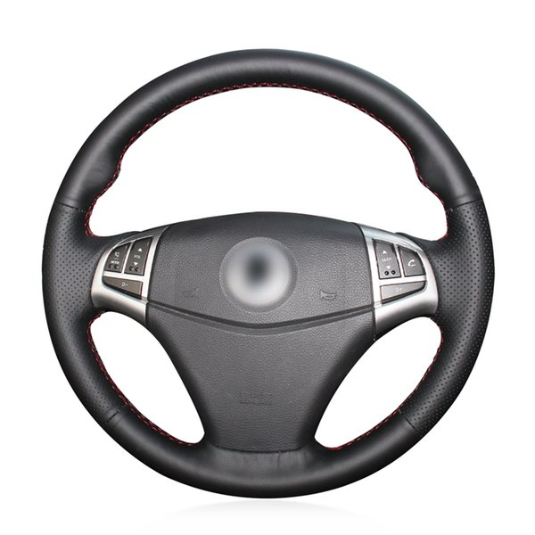 DIY Black Micro Fiber Leather Car Steering Wheel Cover for Ssangyong Korando 2011 2012 2013 2014 Accessories