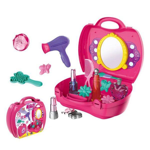 c5beeccdb Juguetes para niños Maleta para niñas Belleza Set de juguetes cosméticos  con espejo Juego de fantasía