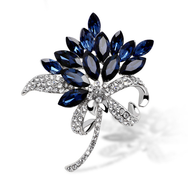 Fashion Flower Brooch Blue Crystal Lapel Pin For Women Coat Wedding Bridesmaid Bouquets Brooches