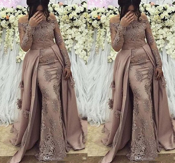 Sheer Mesh Top Lace Arabic Mermaid Long Prom Dresses 2020 Sheer Long Sleeves Tulle Applique Beaded Formal Prom Party Gowns Celebrity Dresses