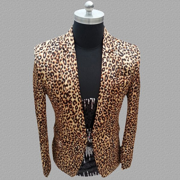 Leopard blazer men suits designs jacket mens stage for singers clothes dance star style dress punk England clothing