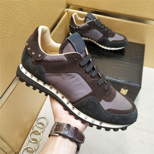 Nuevos Hombres Mujeres Zapatos casuales con tachuelas Zapatos con tachuelas de camuflaje de cuero de malla Zapatos combinados Rockrunner con cordones metálicos Zapatillas de deporte