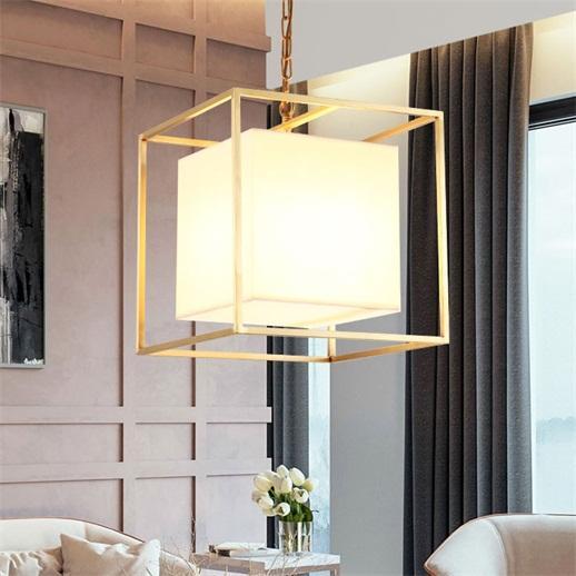 Modern Minimalist Framework Pendant Light White Fabric Shade Cubic Lantern Ceiling Lamp 110V for Living Room Small