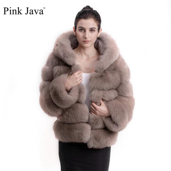 Pembe Java QC8143 2017 yeni varış kadın kış kalın kürk ceket gerçek fox kürk ceket ile hood standı yaka kıyafet hoodies tilki