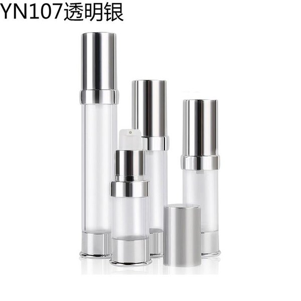 300pcs 10ml 15ml 20ml 30ml Clear Plastic Cosmetic Airless Bottle silver top Refillable Pump Dispenser Bottles For Travel Lotion cream jar