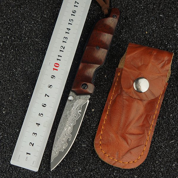 Damascus steel blade outdoor survival folding knife wooden handle camping tactical hunting knife EDC multi-tool pocket knife fishing tool