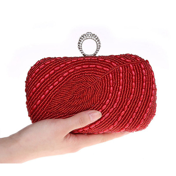 Designer- Rhinestone Ring Bag Crystal Leaf Pattern Hand Beaded Evening Bag Beading Clutch Purse Stylish Leaves Handbag Knuckle box - S3978
