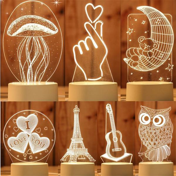 3D Lâmpada LED Criativo 3D LED toque Luzes da noite Novidade Ilusão Lâmpada noturna Ilusão 3D Lâmpada de mesa Para Casa Decorativa
