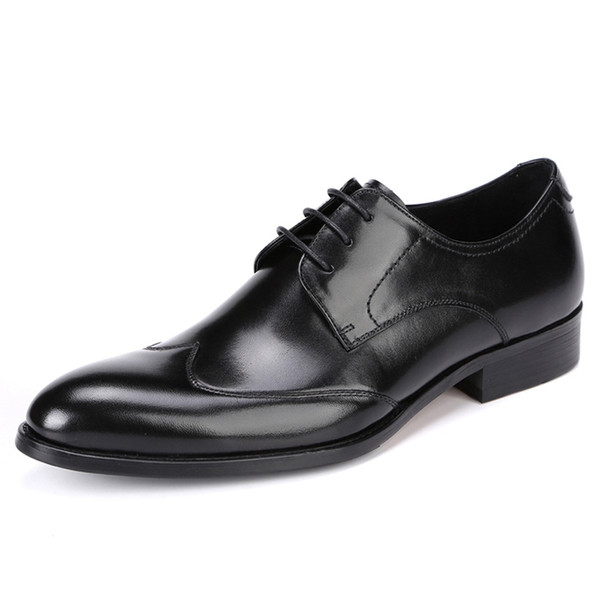 business mens dress shoes genuine leather tan black wine Italian new fashion male Brogue shoes big size 37-46
