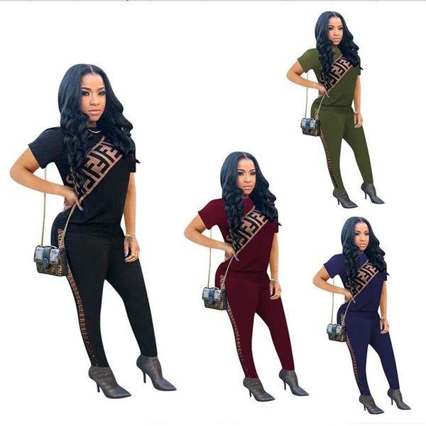 2019 Brand Designer Women Tracksuit F letter Print 2pcs Set Short Sleeve T Shirts + Leggings Pants Sport Suit Outdoor Sexy Brand Outfit A341